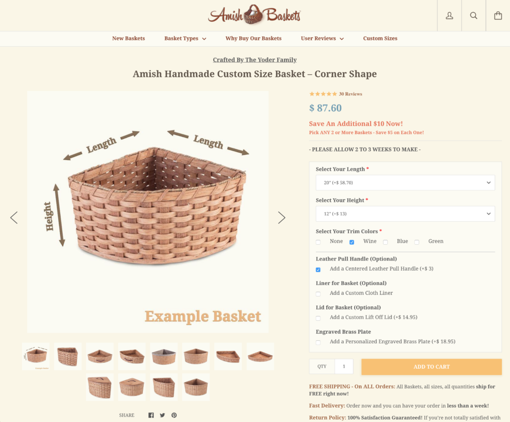 Custom Corner Baskets