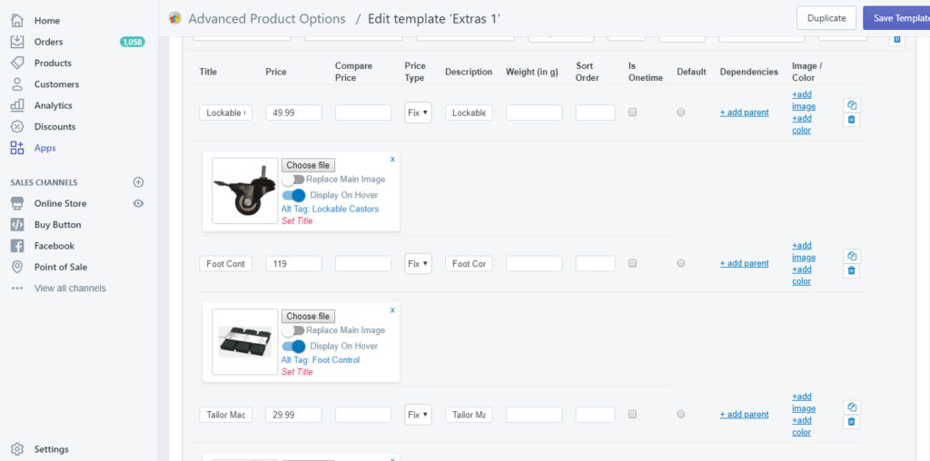 Cosmetronic Global Ltd - Shopify product options 1